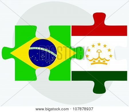 Brazil And Tajikistan Flags