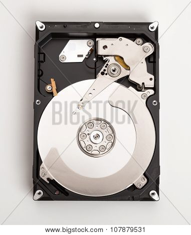Open harddisk white on desk.