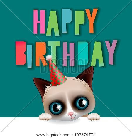 Cute happy birthday card with fun cat