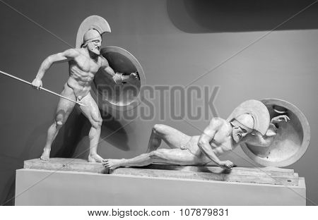 Marble sculpture of greek warriors.