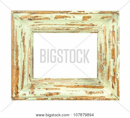 Vintage Worn Green And Gold Frame