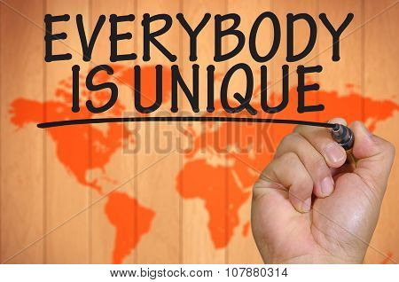 Hand Writing Everybody Is Unique Over Blur World Background