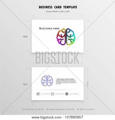 Abstract Creative Business Cards Design Template. Name Cards Symbol. Size 55 Mm X 90 Mm. (2.165 In X
