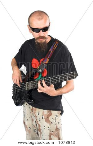 Musician Bass Player With Five String Electric Double Ball Headl