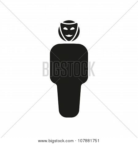 The anonym icon. Unknown and faceless, impersonal, featureless symbol. Flat