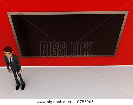 3D Man  Standing Inside A Classroom Consisting Of A Blackboard Concept