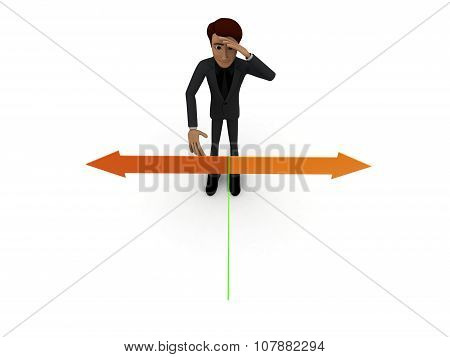 3D Man Confused To Chose Which Direction To Move Concept