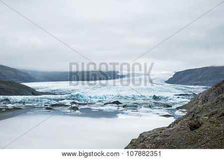 Beautiful Landscape With Mountain View And Glacier Lake