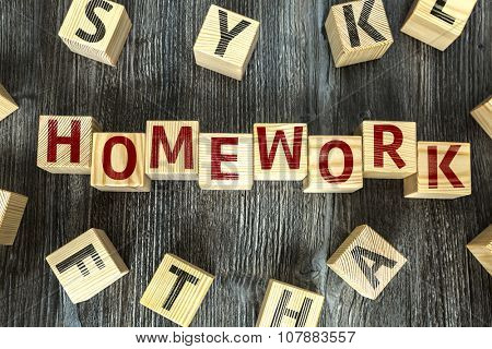 Wooden Blocks with the text: Homework
