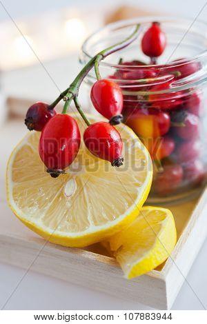 Fresh Rosehip Fruit Tea With Lemon