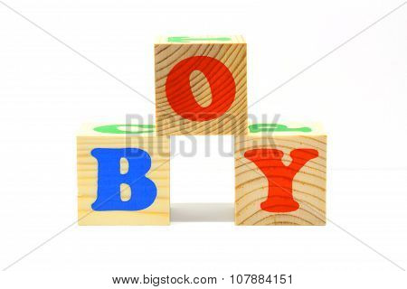Wooden cubes with inscription Boy