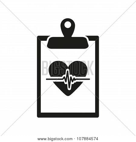 The medical report icon. Medical and ambulance, cardiogram, healthcare symbol. Flat