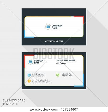 Modern Creative And Clean Business Card Template With Red, Yellow Blue And Green Colors. Vector Illu