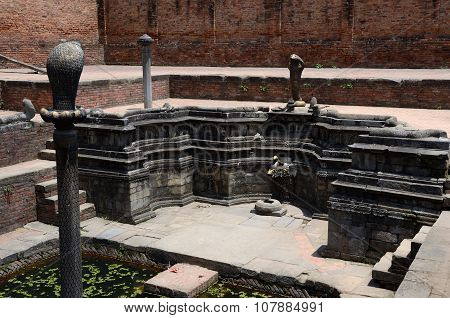 Carving Decorations Depicting Hindu Mythology In Water Reservoirs,Bhaktapur Durbar Square, Kathmandu