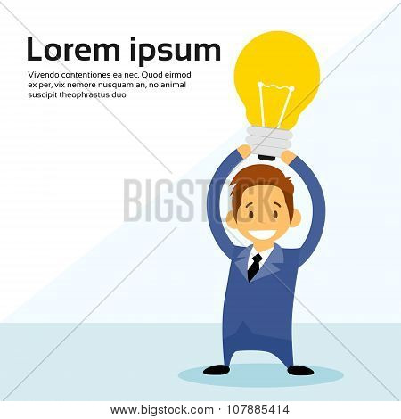 Busines Man Cartoon Character Hold Idea Light Bulb