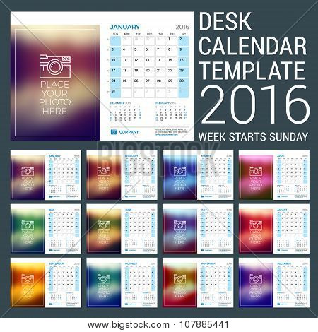 Desk Calendar For 2016 Year. Vector Stationery Design Template With Motivational Quote On The Blurre