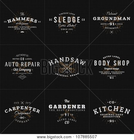 Set Of Hipster Vintage Labels, Logotypes, Badges For Your Business. Knife, Axe, Hammer, Wrench. Vect