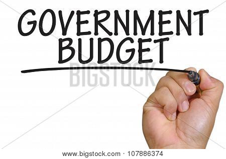 Hand Writing Government Budget Over Plain White Background