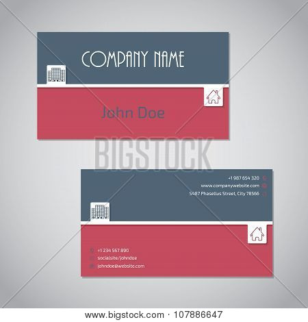 Blue Red Business Card With White Stripe