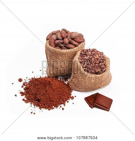 Chocolate with cacao, isolated