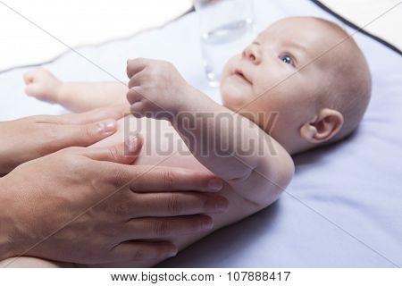 Three Month Baby Boy Abdomen Massage