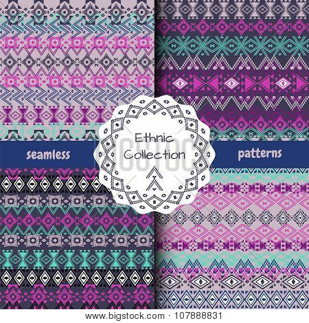 Set Of Ethnic Tribal Geometric Patterns