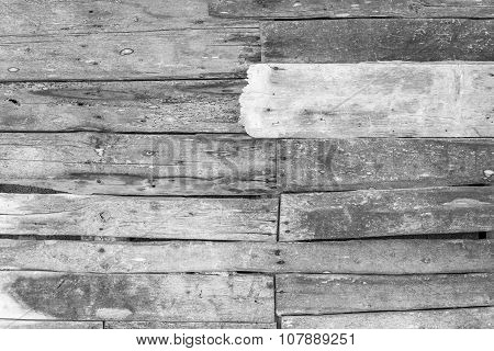 Wall From Old Wooden Boards Of Monochrome Tone