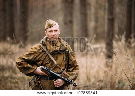 Unidentified re-enactor dressed as Russian Soviet soldier in cam