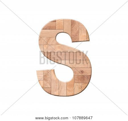 Wooden Parquet Alphabet Letter Symbol - S. Isolated On White Background