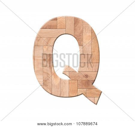 Wooden Parquet Alphabet Letter Symbol - Q. Isolated On White Background