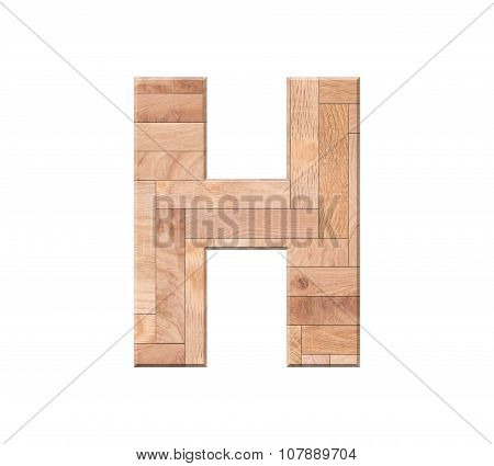 Wooden Parquet Alphabet Letter Symbol - H. Isolated On White Background