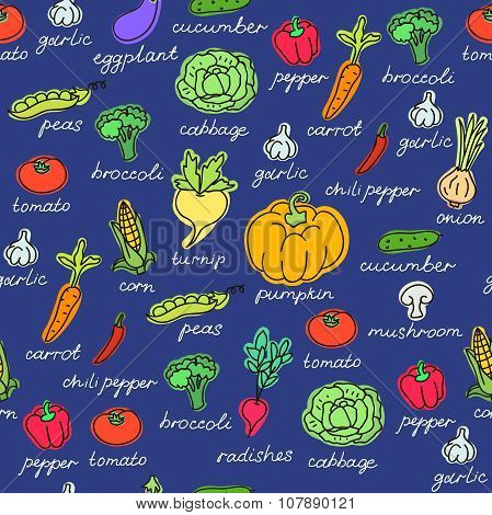 Vector pattern of seamless background with vegetables. Vector hand drawn doodle background.