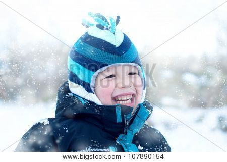 Boy In Winter Outdoor