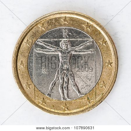 1 Euro Coin With Italian Backside Used Look