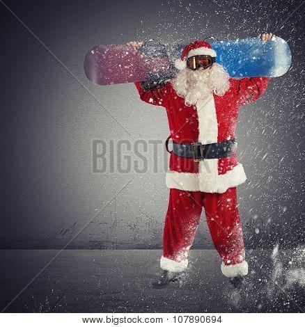 Santaclaus snowboarder