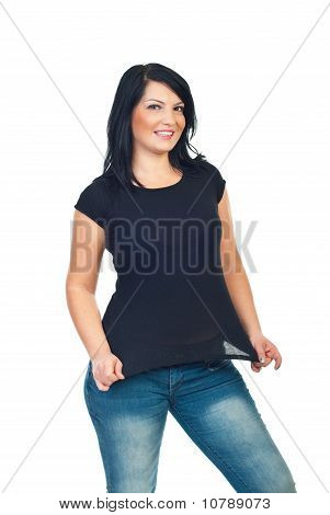 Attractive Model Woman In Black Tshirt
