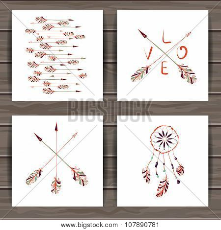 Valentines day cards with dream catcher and arrows