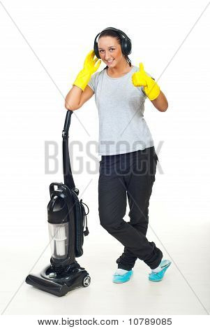Successful Cleaning Woman Give Thumbs