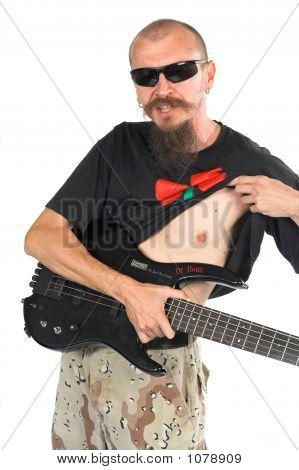 Músico baixista com cinco String bola dupla elétrica Headl
