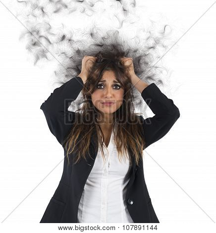 Stressed and desperate businesswoman
