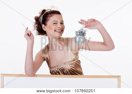 Young Woman And White Board