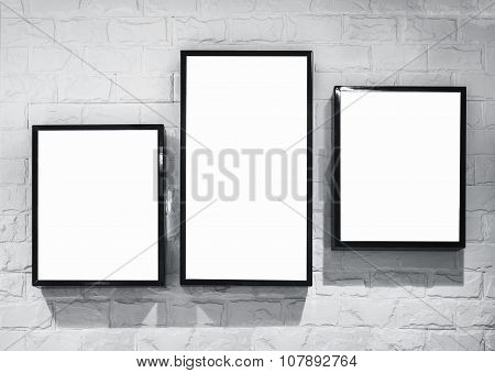 Mock Up Light Box Frame Deisgn Template On White Brick Wall