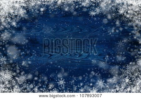 Dark Wooden Background With Snowflakes