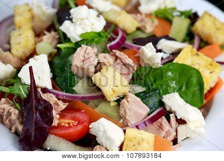 Close Up Tuna Salad With Spinach, Rocket, Red Ruby Chard, Tomatoes, Cucumbers, Carrot, Red Onion, Wh