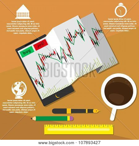 Vector illustration of mobile trading