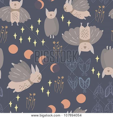 Night creatures seamless vector pattern with adorable bats and moths. Moon phases. Hand drawn textur