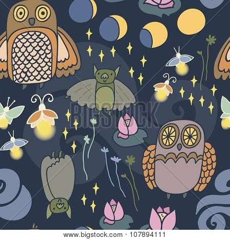 Night creatures seamless vector pattern with adorable owls, bats, fireflies and moths. Moon phases.