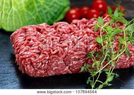 Fresh Raw Minced Beef On Old Blue Stone