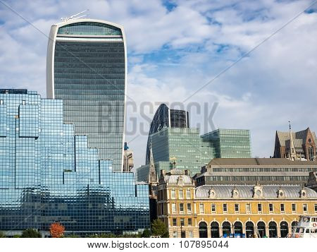 London Skyline With Office Buildings Seen From River Thames