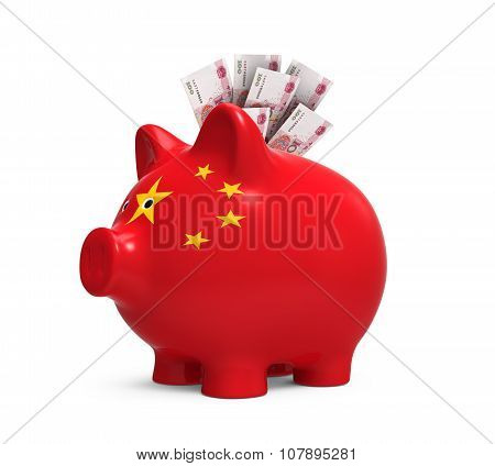 Piggy Bank with Chinese Yuan